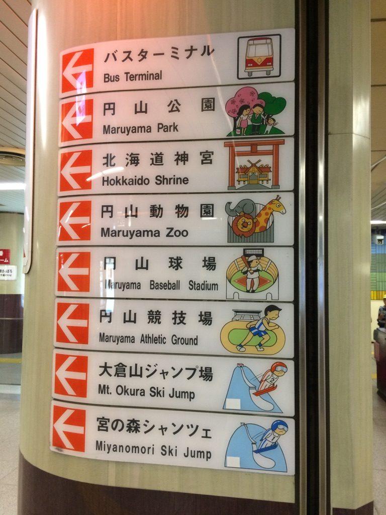 円山動物園地下鉄案内板