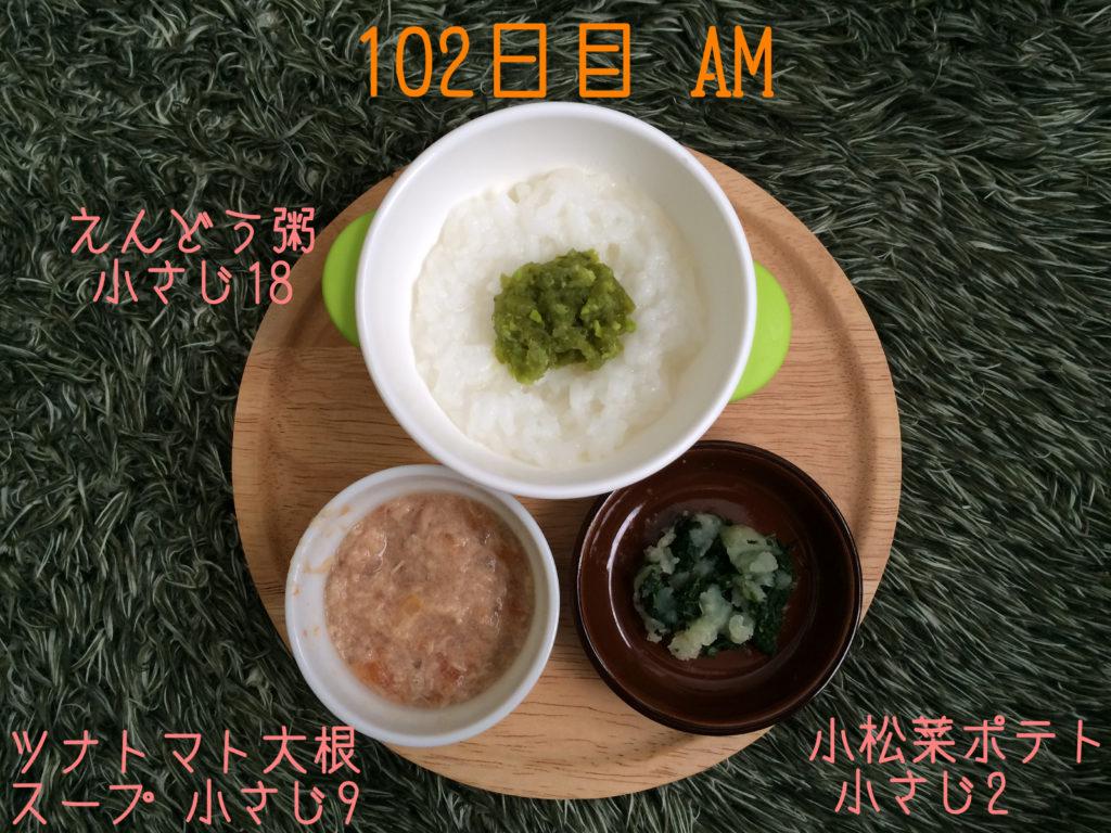 離乳食中期102日目朝メニュー