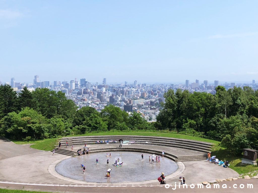 旭山記念公園噴水と景色