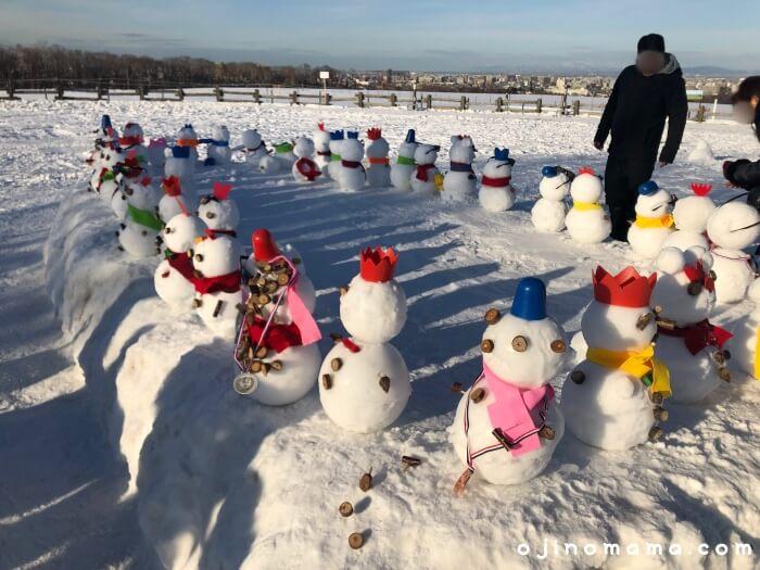 札幌羊ヶ丘展望台冬雪だるま